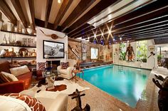 Luxe Indoor Pools This Manhattan Mansion Features an Indoor Living Room Swimming Pool Indoor Pools, Indoor Swing, Jacuzzi, Woman Cave, Swimming Pool Designs, Cool Pools, Pool Houses, My Dream Home, Feng Shui