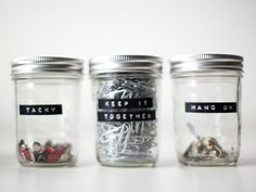 """witty office supply jar labels: """"tacky"""" """"keep it together"""" and """"hang on"""""""