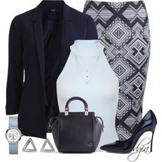 A fashion look from March 2015 featuring Miss Selfridge, blazer jacket and pencil skirts. Browse and shop related looks. Cute Comfy Outfits, Classy Outfits, Chic Outfits, Fashion Outfits, Womens Fashion, Work Fashion, Fashion Looks, Fashion Sets, Vestidos Plus Size