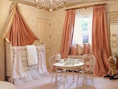 A Royal Nursery for Dr. Phils First Granddaughter - Dreamy Celebrity Nurseries on HGTV Royal Nursery, Girl Nursery, Girl Room, Girls Bedroom, Princess Nursery, Nursery Crib, Royal Baby Nurseries, Beige Nursery, Peach Nursery