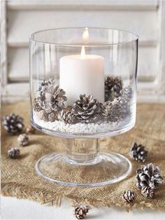 25 Budget-friendly Rustic Winter Pinecone Wedding Ideas Pinecones are ideal for . 25 Budget-friendly Rustic Winter Pinecone Wedding Ideas Pinecones are ideal for fall and winter weddings, they are easy . Christmas Candle Decorations, Scandinavian Christmas Decorations, Christmas Candles, Rustic Christmas, White Christmas, Christmas Diy, Homemade Decorations, Winter Decorations, Simple Christmas