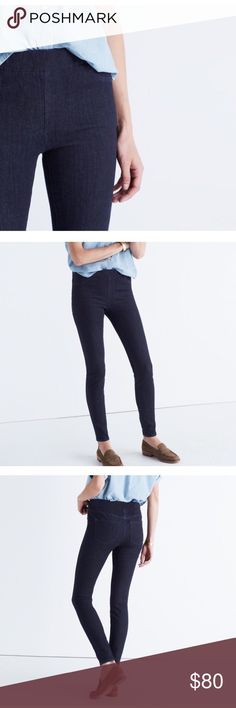 NWT Madewell the anywhere jean in bellflower wash PRODUCT DETAILS Sleek, stretchy pull-on jeans designed to wear, well, absolutely anywhere. Using the very latest in denim technology, they combine a supersoft feel with an all-way stretch that won't lose its holds-you-in magic after a day running errands.  Premium 77% cotton/18% poly/5% elastane Turkish denim. A saturated indigo rinse. Wide elastic waistband, tonal stitching. Sits at hip, fitted through hip and thigh, with a slim leg. Machine…