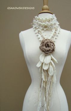 Queen Ann Rose Lariat-Ecru by gsakowskidesigns on Etsy Crochet Flower Patterns, Crochet Flowers, Crochet Lace, How To Purl Knit, Crochet Scarves, Shawls And Wraps, Wool Yarn, As You Like, Womens Scarves