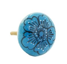 Sky Blue Flower Flat Ceramic Decorative Drawer, Door or Cabinet Pull Knob - i1133