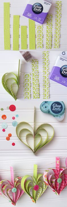 """Paper heart garland from Dottess Holly using 1"""" Glue Lines! #GlueDots  Great Activity for Residents"""