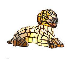 Lampada da tavolo stile Tiffany in vetro e metallo Dog - H 17 cm