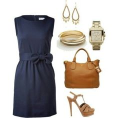 Navy dress and Camel