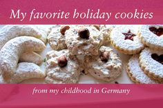 Traditional German Christmas Cookie recipes from Isabelle von Boch of Villeroy & Boch. Includes Vanille kipferl, Haselnussmakronen, and Spitzbuben.(in English with US weights and oven in F)