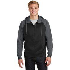 Sport-Tek Men's Black/ Dark Smoke Grey Sport-Wick Varsity Fleece Full-Zip Hooded Jacket