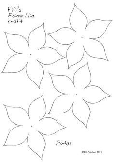 Poinsettia Paper Flower Template … Paper Flowers Craft intended for Paper Heart Flower Craft With Template - Professional Templates Ideas Drawing Templates, Applique Templates, Templates Printable Free, Applique Patterns, Flower Patterns, Free Christmas Templates, Owl Templates, Paper Patterns, Felt Patterns