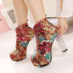 Exquisite Multi-color PU Round Closed Toe Chunky Super High Heel Boots