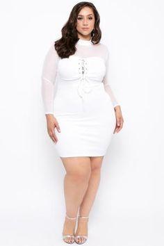 Plus Size Mesh Lace Up Dress - White
