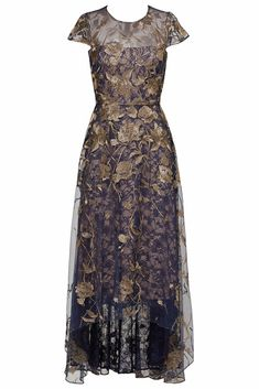 414352376c99 (eBay Ad) Marchesa Notte Blue Gold Womens Size 4 Gown Floral Embroidered  Dress $1295