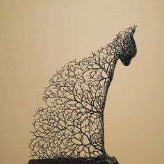 Korean artist Kang Dong Hyun constructs hollow animal sculptures from a system of metallic branches. His works often have a high concentration of these sprig-like elements constructing the animal's face, which allow the distinguishing characteristics of his house cats, birds, bulls, and elephants to