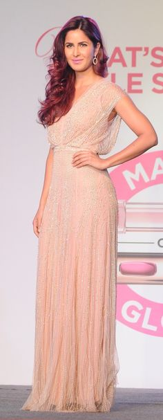 Katrina Kaif at L'Oréal Paris Cannes Collection Launch wearing a Jenny Packham gown and jewelry from Gehna