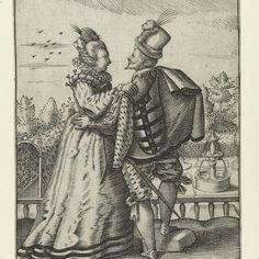 Elegant paar op terras, Conrad Goltz, c. 1590 - c. 1600 - Rijksmuseum