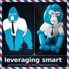 What does your logo, mascot or brand look like as a balloon animal?  Max the 800 Pound Gorilla, looks a little like this above…  Thank you to Riki Inzano from http://artbyriki.com/ for a balloon animal of Leveraging Smart's logo and mascot, Max the 800 Pound Gorilla.