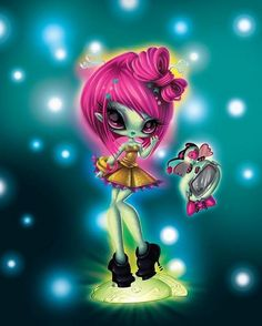 Here is another new image from the Novi Stars FB page and today they revealed a clearer and much more flattering image of Alie Lectric, lighting up earth! Favorite and comment as always :)! Novi Stars, Big Eyes, Fantasy Art, Creepy, Disney Characters, Fictional Characters, Artsy, Dolls, Softies
