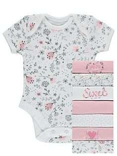 7 + 1 Free Pack Assorted Bodysuits, read reviews and buy online at George at ASDA. Shop from our latest range in Baby. Offering 8 short sleeve bodysuits for ...