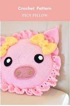 Mesmerizing Crochet an Amigurumi Rabbit Ideas. Lovely Crochet an Amigurumi Rabbit Ideas. Crochet Pig, Crochet Home, Crochet Dolls, Free Crochet, Crochet Cushions, Crochet Pillow, Bernat Super Value Yarn, Crab Stitch, Crochet Rug Patterns