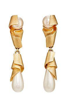 Imitation Pearl Double-Drop Clip-On Earrings