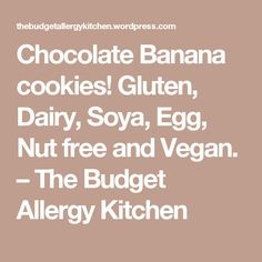 Chocolate Banana cookies! Gluten, Dairy, Soya, Egg, Nut free and Vegan.  – The Budget Allergy Kitchen