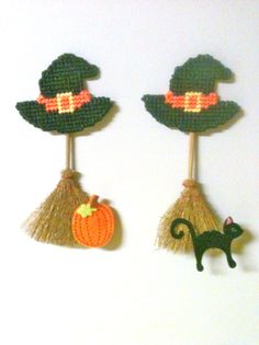witch broomstick magnets needlepoint plastic canvas on Etsy, $3.00