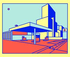 """""""I wanted to draw something not very aesthetically pleasing,"""" says London-based illustrator Thomas Hedger of his latestwork—a series of vibrantly-colored petrol stations.These still compositions are a departure from the tongue-and-cheek style that Hedger has become known for, and which high-profil"""