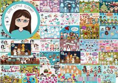 Big Bundle Clipart Volume 2 (Graphic) by CuteLittleClipart · Creative Fabrica Mermaid Clipart, Pirate Boy, Owl Books, Chibi Couple, Baseball Girls, Harry Potter Birthday, Star Wars Birthday, Graphic Design Projects
