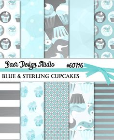 Love these sweet cupcake digital papers in blue. They are instant downloads, too!