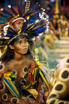 Bororo tribal dance of the Jaguar at Indigenous National Party celebration, Brasil....