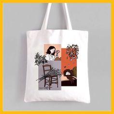 Keterangan foto tidak tersedia. Best Tote Bags, Diy Tote Bag, Diy Purse, Reusable Tote Bags, Aesthetic Bags, Painted Bags, Embroidery Bags, Fabric Bags, Cute Bags