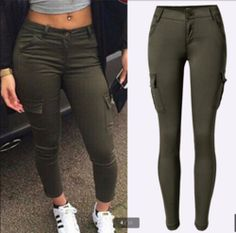 009349f0e498 Trendy Cargo Stylish Skinny Pants Army Green Jeans, Black Jeans, Women's  Summer Fashion,