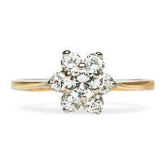 Vintage Diamond Cluster Engagement Ring | Retro Inexpensive Flower Wedding Ring | Woodstock from Trumpet & Horn