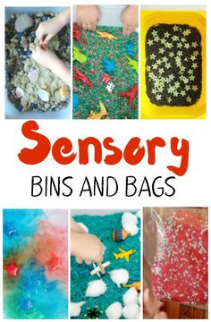 A Sensory Bin and Bag for every mood! Bins for language and reading skills, math and counting practice, and some that are just straight up fun! Great hands on learning activities for tactile learners. Sensory Processing Disorder                                                                                                                                                                                 More