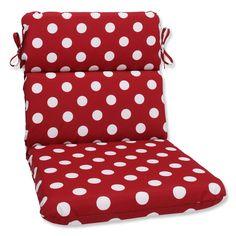 Pillow Perfect Outdoor / White Polka Dot Round Chair Cushion