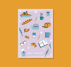 Treat Yourself greeting card - postcard Double sided full color print on 250gsm paper. Size is 90mmx130mm (wee bit smaller than A6). Blank on the back for your own message. Comes with a white envelope. Illustration and design by @Barbijaldin Color Print, Treat Yourself, Graphic Design Illustration, Paper Size, White Envelopes, Greeting Cards, Treats, Messages, Etsy