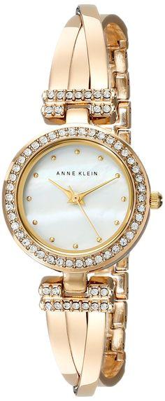 Anne Klein Women's AK/1868GBST Swarovski Crystal Accented Gold-Tone Bangle Watch and Bracelet Set
