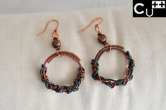 """Leather"": handicraft copper earrings with leather wire by aes Cyprium"