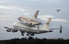 Space shuttle Endeavour, bolted atop a modified jumbo jet makes its departure from the Kennedy Space Center, Wednesday, Sept. 19, 2012, in Cape Canaveral, Fla.
