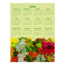 Flower Garden 2018 Floral Nature Calendar Poster