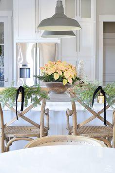 white-modern-farmhouse-kitchen-with-white-carrara-marble-and-white-herringbone-backsplash-christmas-deocr-for-the-kitchen-vintage-barn-pendants-large-dough-bowl-18