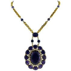 Preowned 18k Yellow Gold Victorian Revival Amethyst Pearl Necklace ($9,500) ❤ liked on Polyvore featuring jewelry, necklaces, pendant necklaces, yellow, gold bead necklace, gold necklace pendant, beaded necklaces and gold chain pendant