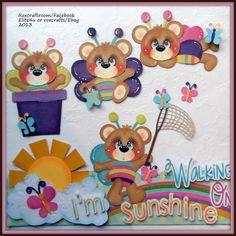 """I'm walking on sunshine""  premade tear bears paper piecing""..."