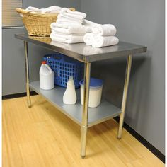 Sportsman Stainless Steel Kitchen Utility Table With Work Shelf - 10 ft stainless steel table