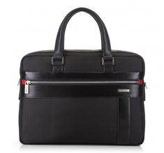 Black laptop bag, made from nylon and natural leather   WITTCHEN   89-3U-203