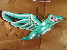 Flying Green Angel  Frog Folk Art Handmade Hand Painted Winged Hanging Toad