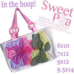 Chiffon flower bag 6x10 7x12 9x12 9.5x14 in the hoop machine embroidery design