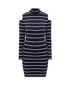 Blue Stripe Print Open Shoulder Long Sleeve Bodycon Dress  | New Look