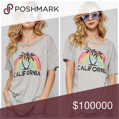 """CALIFORNIA cut out palm tree tee! A graphic t-shirts featuring a short dropped sleeves, round neck with cutout detail, and printed `palm tree` graphic with """"CALIFORNIA` text. This top is made with light weight cotton and premium modal fabric that is very soft, drapes well. Tops"""